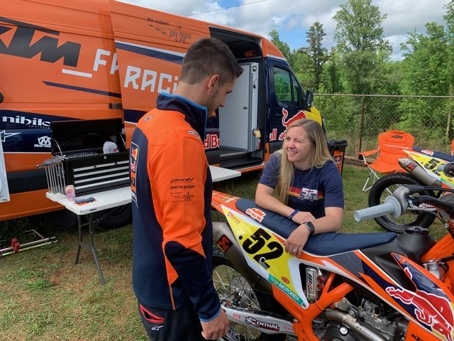 Justin found a grassy spot to park for the test and made the changes on the bike for Shayna to begin the test with.