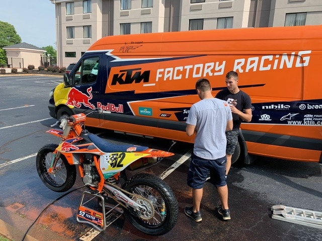 The Red Bull KTM Factory rig has onboard water and a pressure washer that make clean up much more convenient.