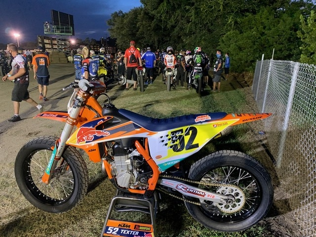 """The team had every base covered this weekend. This is a back up bike that was ready near staging """"Just in case"""" for the main events."""