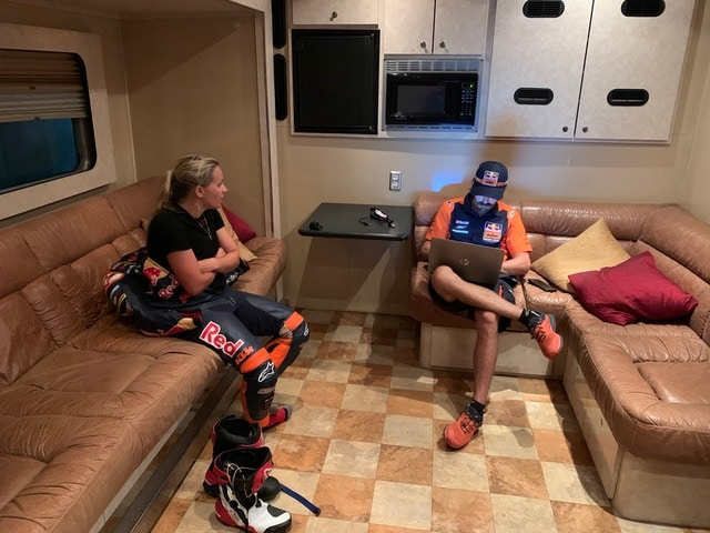 This photo shows Shayna and her team manager discussing everything that happened during the day, every adjustment that was made on the bike and what the outcome of that adjustment was….the team depends upon Shayna's feedback to help her set the bike up for the ever changing conditions.