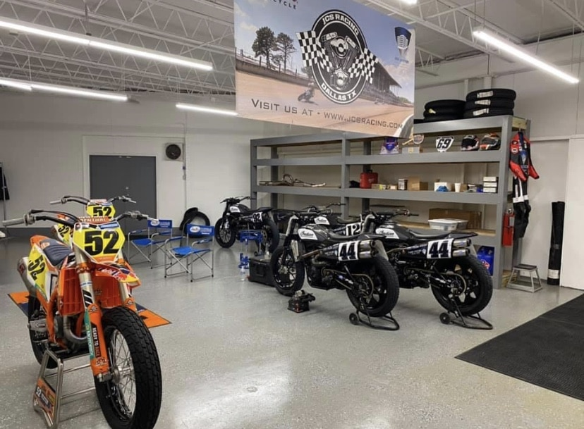 """Long time sponsor and close friend Jerry Stinchfield opened up his """"Roof Systems"""" race shop to Shayna's team this week to allow them to prep bikes in Texas before heading to Atlanta"""
