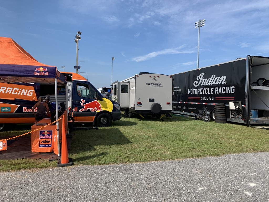Shayna was able to have her camper in the paddock parked between her Red Bull KTM teamed fiancé Briar Bauman's Factory Indian team.