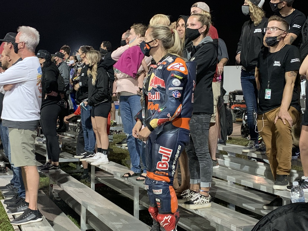 After several delays in the Saturday night event Shayna found a spot in the bleachers in the paddock area to check out the track and Briar's progress in his effort to retain the Championship.